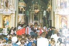 zdj-4.-04.06.1990-Jubileuszowa-msza-świeta-z-udziałe-Pocztów-Sztandarowych-i-uczestników-uroczystości.