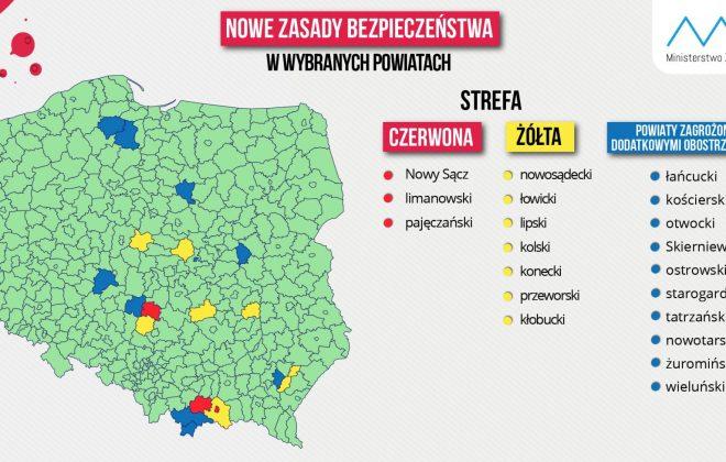Powiat limanowski w czerwonej strefie